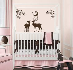 Vinyl Decal Magic Deer in Wood Home Wall Art Decor Removable Stylish Sticker Mural L534 Unique Design Girl Boy Nursery Bed Room on Etsy, $34.99