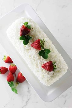 A recipe for a coconut cake roll that is light and not too sweet. It has a filling and frosting of a creamy mixture and covered with shredded coconut. Coconut Desserts, Just Desserts, Coconut Cakes, Easter Desserts, Gourmet Desserts, Cake Roll Recipes, Dessert Recipes, Jelly Roll Cake, Pumpkin Crunch Cake