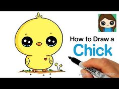 Easy Drawings How to Draw a Baby Chick Cute and Easy - Drawing Lessons For Kids, Drawing Tutorials For Kids, Easy Drawings For Kids, Drawing Tips, Kawaii Drawings, Cartoon Drawings, Cute Drawings, Animal Drawings, Cartoon Images