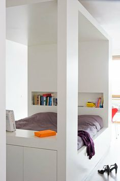 Great way to achieve a separate room feeling for a bed in a loft-like or single room space. Also includes storage in under bed drawers, storage cupboards at the end of the unit and built-in storage niches. Beautiful Bedrooms, Interior, Home, Home Bedroom, Bedroom Interior, House Interior, Bedroom Inspirations, Bed, Shelves In Bedroom