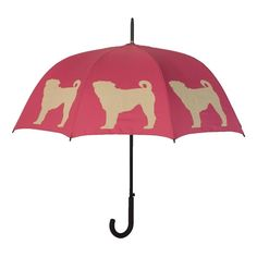Pug Walking Stick Umbrella on One Kings Lane today This is perfect for you. Pink and pugs. Dog Umbrella, Under My Umbrella, Pugs, Pug Love, I Love Dogs, Pet Pug, Wooden Walking Sticks, Dog Silhouette, Small Breed