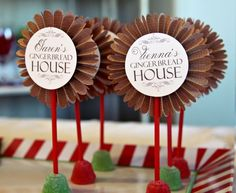 Loralee Lewis Gingerbread Party cupcake toppers, Christmas/Holiday kids party