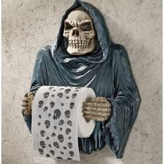 Skull Grim Reaper Bath Tissue Holder Gothic Toilet Paper Holder Bathroom Decor in Home & Garden, Bath, Toilet Paper Storage & Covers