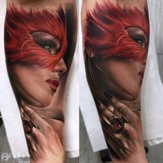 Breath-taking female portrait tattoo