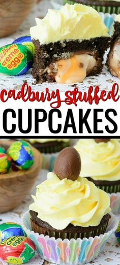 Cadbury Creme Egg Cupcakes Whether you're looking for the best Easter dessert recipes or just recipes with Cadbury Creme Eggs, then you've come to the right place! This Cadbury Creme Egg Cupcakes recipe topped with an easy homemade buttercream frosting is Chocolate Cake From Scratch, Cupcake Recipes From Scratch, Easy Cupcake Recipes, Easter Recipes, Dessert Recipes, Spring Recipes, Pie Recipes, Cooking Recipes, Homemade Peanut Butter