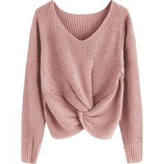 V Neck Twist Chunky Sweater Pink ($28) ❤ liked on Polyvore featuring tops, sweaters, pink sweater, twist top, twist sweater, v-neck tops and red sweater