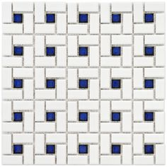 Give your bathroom a little extra dazzle with this spiral white and cobalt porcelain mosaic tile set from SomerTile. This crisp, white tiles are accented with cobalt blue pieces that give your room a