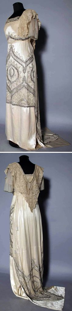 Evening gown, 1912. Skirt & bodice with designs worked in silver & crystal beads. Augusta Auctions