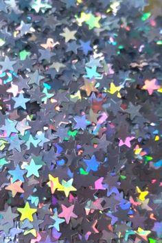 Royal Blue with Cascading Iridescent Hologram Stars