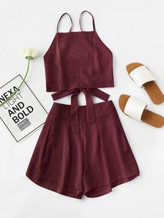 #AdoreWe #SheIn SheIn Bow Tie Open Back Cami Top And Shorts Set - AdoreWe.com