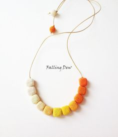 Necklace 'Have Fun' Yellow, Orange Colours Palette Crochet Beads Leather Cord Crochet Beads Summer Fashion, Teen Fshion