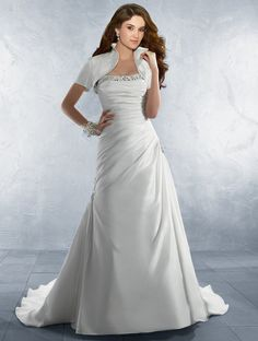 Alfred Angelo...Taffeta, Rhinestones, Pearls,  Crystal Beading & Sequins  Matching Taffeta Jacket  Optional Spaghetti Straps & Modesty Piece  Chapel Train  Available with Lace-up or Zipper back  Also available without Jacket as Style 2180/C