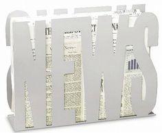 NEWSの文字でできたマガジンラック シンプル シルバー - インテリアパンチ