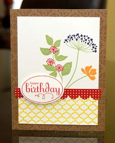 handmade birthday card ... Stampin Up! Summer Silhouettes ... sweet stamped arrangement using several elements to create the flowers in colors ...