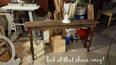 a last minute -exaggerated- sofa table!