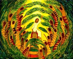 Beautiful art for wall projection on Palm Sunday by artist Hanna-Cheriyan Varghese Christian Images, Christian Art, Religious Icons, Religious Art, Happy Palm Sunday, Hosanna In The Highest, Bible Images, Religion Catolica, Religious Paintings