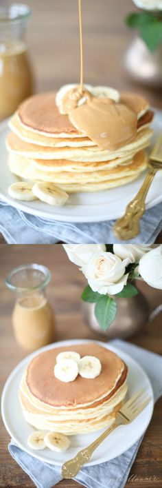 Classic pancakes' with a creamy peanut butter  syrup