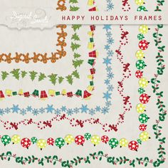 Happy Holidays Frames - 8.5 x 11 - Digital Clipart for card making, scrapbooking, invitations, printed products, commercial use on Etsy, $3.50