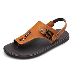 724d70e7f2b4 Aliexpress.com   Buy Size 37 38 to 45 46 Flats Summer Fashion Men s Sandals  Real Leather Casual Beach Plataforma Slipper Black Yellowish Brown Khaki  from ...