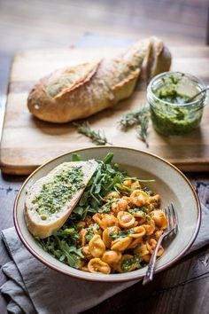 White Beans and Pasta with Rosemary Pesto: Tender beans cozy up with hearty pasta and fragrant pesto - a 30 minute weeknight meal!
