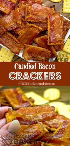 Candied Bacon Crackers : A bacon snack as easy as 1 2 A favorite for Super Bowl snacking or any time. Healthy Superbowl Snacks, Healthy Vegan Snacks, Tailgating Recipes, Easy Snacks, Healthy Nutrition, Healthy Eating, Bacon Appetizers, Appetizer Recipes, Snack Recipes