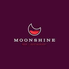 Minimal logo design by Sava Stoic for the bar and restaurant Moonshine. The moon is represented by a crescent shape filled with a 3D wave form #logo #spirits #bar #pub