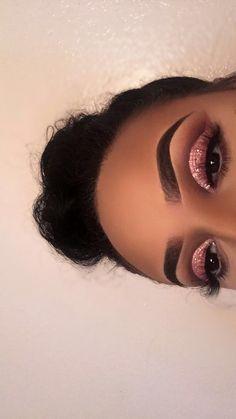 "Pink glitter eye makeup History of eye makeup ""Eye care"", quite simply, ""eye make-up"" has Makeup Eye Looks, Cute Makeup, Glam Makeup, Gorgeous Makeup, Pretty Makeup, Skin Makeup, Beauty Makeup, Hair Beauty, Glitter Makeup"