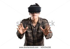 man action in virtual reality helmet. VR glasses, on white isolated background