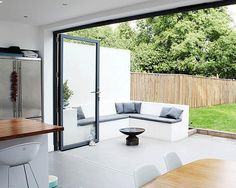 Bi Folding Sliding Patio Doors Aluminium up to wide 4 Panel House Extension Design, House Design, Extension Ideas, Bifold Doors Onto Patio, Kitchen Bifold Doors, White Bifold Doors, Interior Exterior, Interior Design, Folding Doors