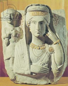 Funerary relief with a female figure, from Palmyra, Syria (stone). Syrian School (3rd century AD) / Museo Nazionale d'Arte Orientale, Rome, Italy / Giraudon / The Bridgeman Art Library