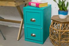 Turn an old filing cabinet into a stylish statement piece for your home office.