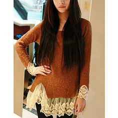 Zian® Women's Round Collar Vintage Lace Long Sweater - USD $ 13.00