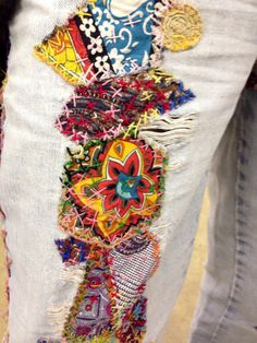 Patched jeans- Vintage fabric