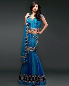 blue and navy blue lehenga