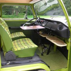 VW Type 2 T2 Westfalia in the best colour - all original, w/ green plaid upholstery
