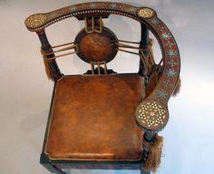 Carlo Bugatti Walnut and Inlaid Corner Chair in Exotic Moroccan Design image 5