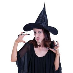Black Witch Set Inc Hat Nose Chin Nails And Teeth Costume Dress Up - Halloween