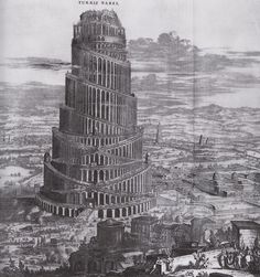 The Tower of Babel, a tour de force of architectural fantasy, partly based on the painting by Jan Breughel.