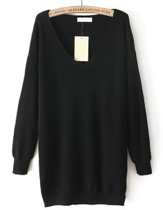 Black V Neck Long Sleeve Loose Knit Sweater EUR€21.93