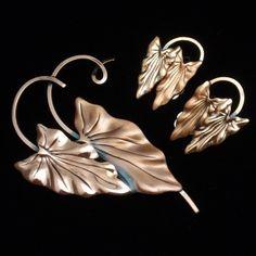 Hawaii Leaf Set Vintage Copper Renoir Brooch Pin Earrings | eBay