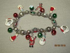 Vintage Christmas Silvertone Silver Metal Enamel Charm Bracelet Red Green Santa Clause by EvenTheKitchenSinkOH on Etsy