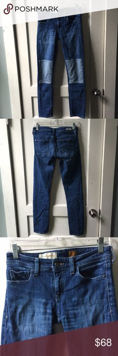 ANTHROPOLOGIE Pilcro Denim Dual Two Tone Jeans Skinny jeans patched knees in dual tone Denim. No defects noted. Anthropologie Jeans Skinny