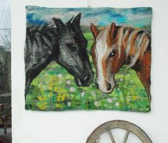 Two Horses on the Meadow wall hanging felted picture by filcAlki