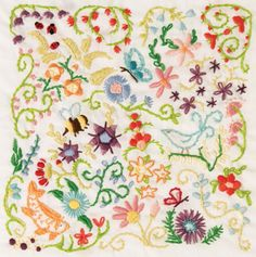 Free Pattern! Doodle Stitching-The Motif Collection: Spring Sampler! Ooh...would look lovely on a cushion