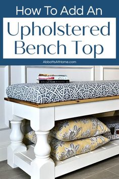 Step by Step Video and written steps for How to Make a No Sew Bench Seat for your window seat, table, or bench. Diy Furniture Plans, New Furniture, Furniture Makeover, Salvaged Furniture, Furniture Projects, Wood Home Decor, Diy Home Decor, Diy Decoration, Decor Crafts