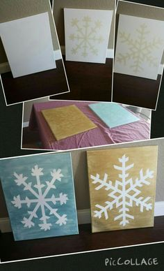 Snowflake Canvases...  Supplies: Canvases (I used 16x20) Paint (I used metallic acrylic folkart) Masking Tape  Tape your pattern onto the canvas Paint over the entire canvas, including the edges and let dry. Peel tape off.