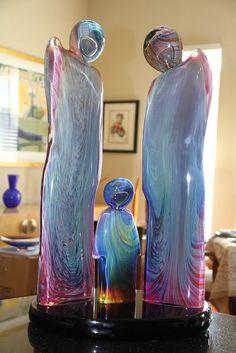 """Dino Rosin """"THE FAMILY (LA FAMIGLIA)-Walking"""" GLASS SCULPTURE"""