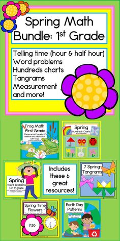 6 awesome math activities for first grade will have your students telling time, adding and subtracting, working tangrams and hundreds charts, doing word problems and more! TpT$