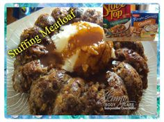 Stuffing Meatloaf  You could do this with any meatloaf recipe and have an beautiful presentation!  1 package Stove Top Stuffing mix, dry...See More: https://www.facebook.com/photo.php?fbid=10202398191049706&set=a.1631803388566.2081200.1041081714&type=1&permPage=1