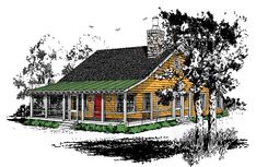 Plan 12912KN: Big Covered Porch Mountain Cottage, Mountain Homes, Story Mountain, Bedroom Loft, Two Bedroom, Cabin Loft, Porch House Plans, House In The Woods, Second Floor